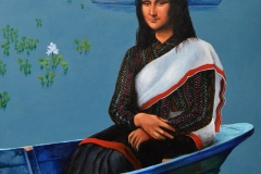Mona Lisa in my boat Acrylic on canvas 30x40 inch 2018 In Private Collection