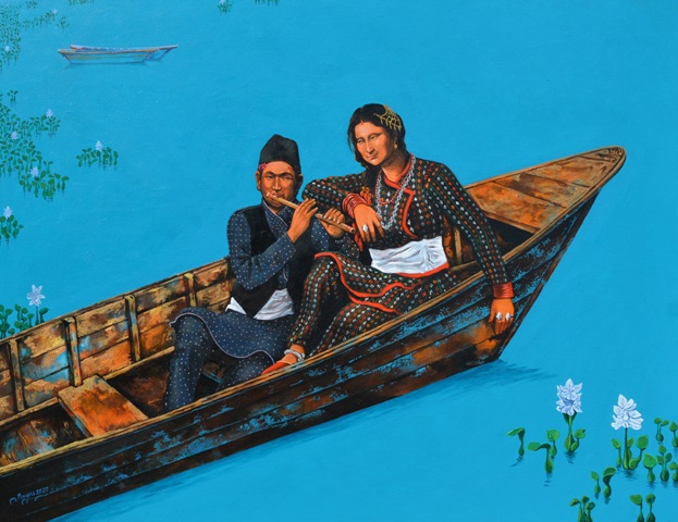 See you next time Mona Lisa in my boat series Acrylic on canvas 48x36 inch 2020